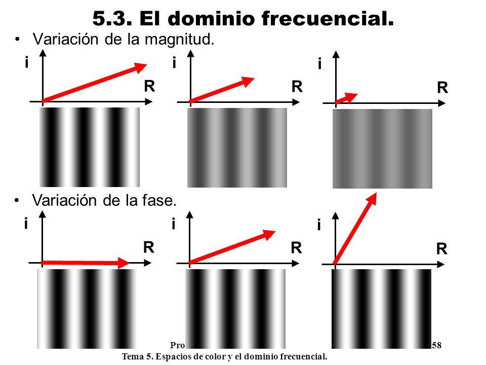 Procesamiento Audiovisual 58 Tema 5. Espacios de color y el dominio frecuencial. 5.3. El dominio frecuencial. Variación de la magnitud. R i R i R i Va