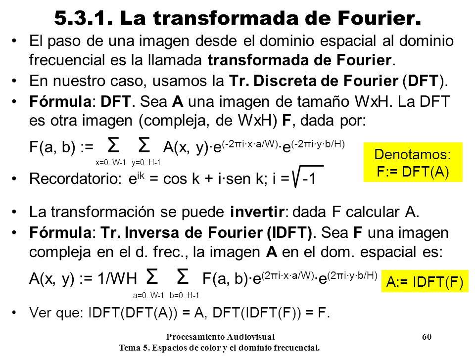 Procesamiento Audiovisual 60 Tema 5. Espacios de color y el dominio frecuencial. 5.3.1. La transformada de Fourier. El paso de una imagen desde el dom