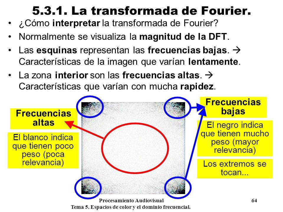 Procesamiento Audiovisual 64 Tema 5. Espacios de color y el dominio frecuencial. 5.3.1. La transformada de Fourier. ¿Cómo interpretar la transformada