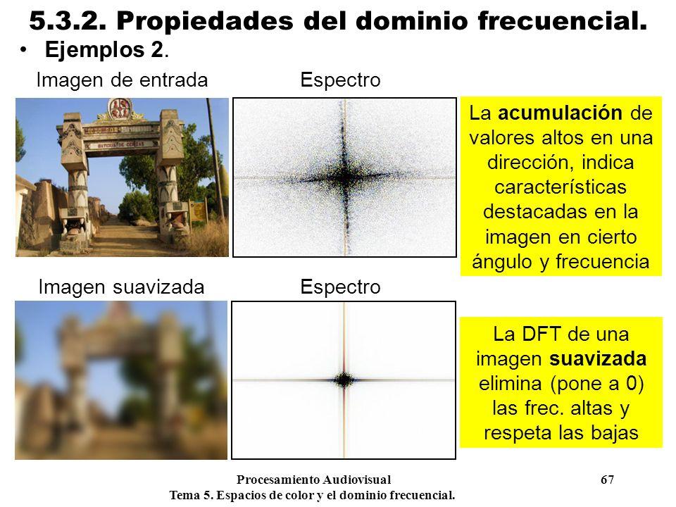 Procesamiento Audiovisual 67 Tema 5. Espacios de color y el dominio frecuencial. 5.3.2. Propiedades del dominio frecuencial. Ejemplos 2. La acumulació