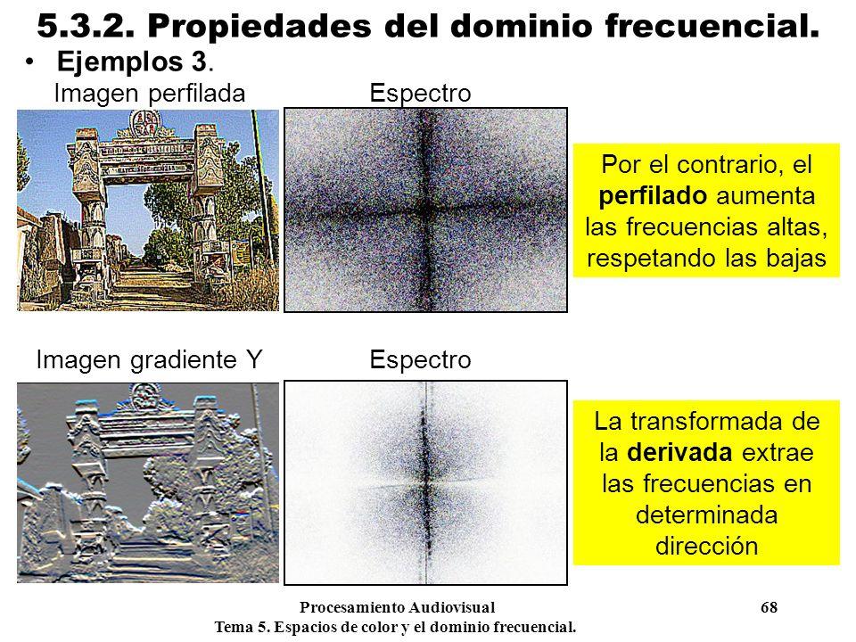Procesamiento Audiovisual 68 Tema 5. Espacios de color y el dominio frecuencial. 5.3.2. Propiedades del dominio frecuencial. Ejemplos 3. Por el contra