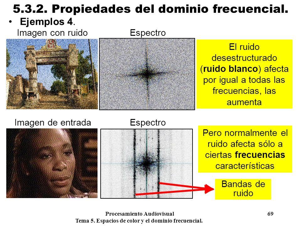 Procesamiento Audiovisual 69 Tema 5. Espacios de color y el dominio frecuencial. 5.3.2. Propiedades del dominio frecuencial. Ejemplos 4. El ruido dese