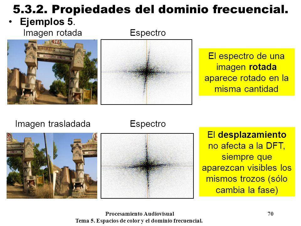 Procesamiento Audiovisual 70 Tema 5. Espacios de color y el dominio frecuencial. 5.3.2. Propiedades del dominio frecuencial. Ejemplos 5. El espectro d