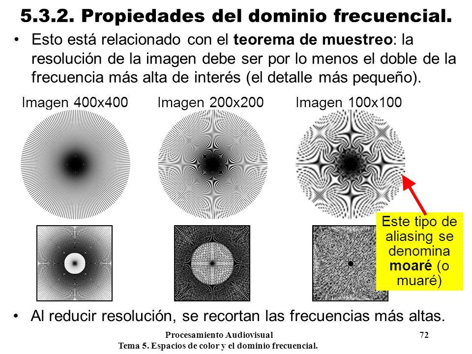 Procesamiento Audiovisual 72 Tema 5. Espacios de color y el dominio frecuencial. 5.3.2. Propiedades del dominio frecuencial. Esto está relacionado con