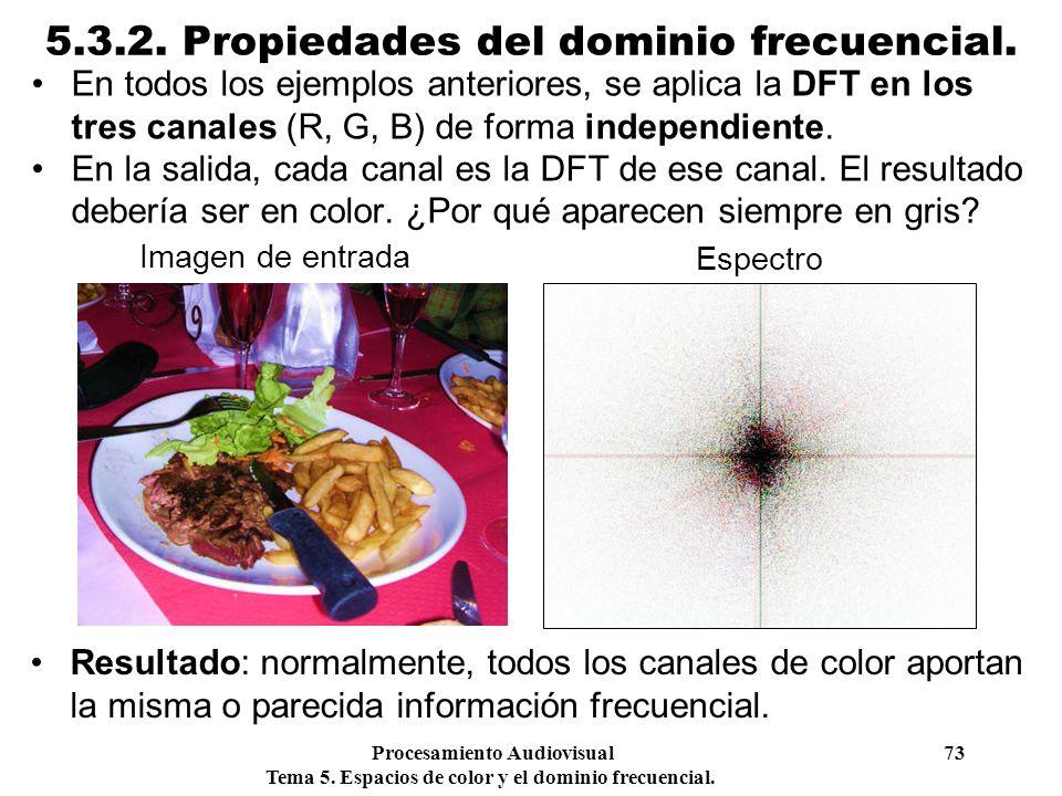Procesamiento Audiovisual 73 Tema 5. Espacios de color y el dominio frecuencial. 5.3.2. Propiedades del dominio frecuencial. En todos los ejemplos ant