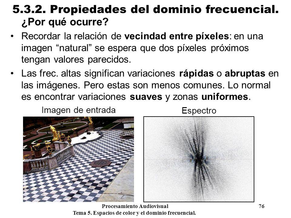 Procesamiento Audiovisual 76 Tema 5. Espacios de color y el dominio frecuencial. 5.3.2. Propiedades del dominio frecuencial. ¿Por qué ocurre? Recordar