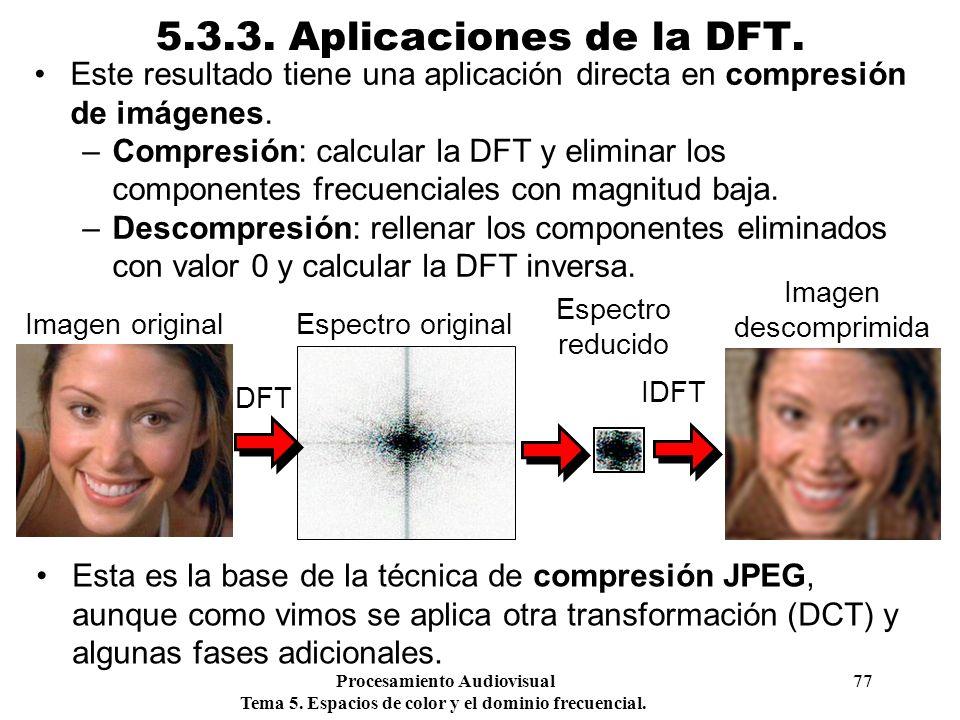 Procesamiento Audiovisual 77 Tema 5. Espacios de color y el dominio frecuencial. 5.3.3. Aplicaciones de la DFT. Este resultado tiene una aplicación di