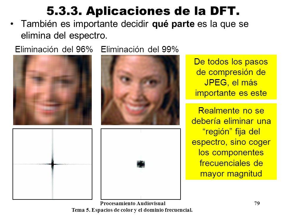 Procesamiento Audiovisual 79 Tema 5. Espacios de color y el dominio frecuencial. 5.3.3. Aplicaciones de la DFT. También es importante decidir qué part