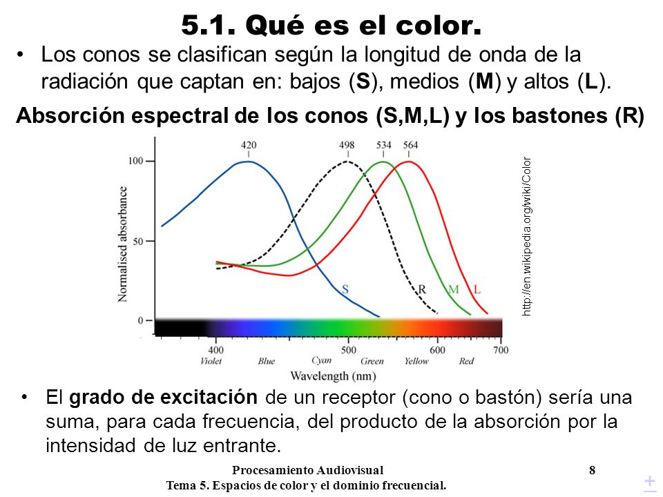 Procesamiento Audiovisual 8 Tema 5. Espacios de color y el dominio frecuencial. 5.1. Qué es el color. Los conos se clasifican según la longitud de ond
