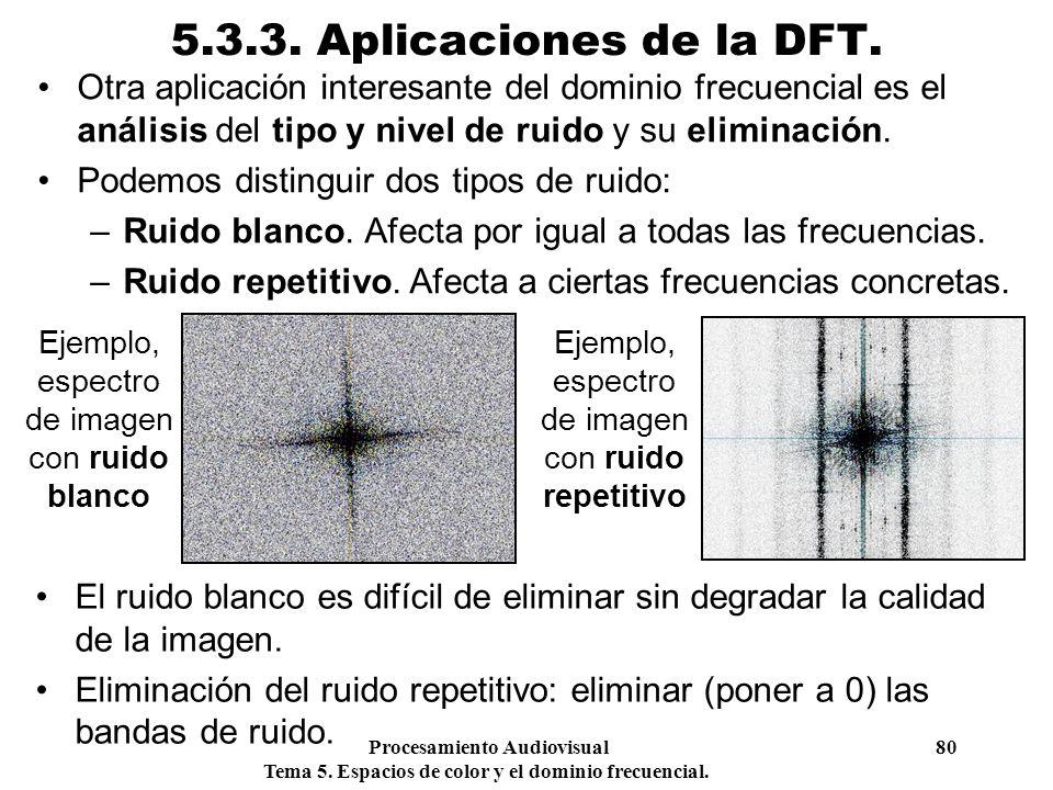 Procesamiento Audiovisual 80 Tema 5. Espacios de color y el dominio frecuencial. 5.3.3. Aplicaciones de la DFT. Otra aplicación interesante del domini