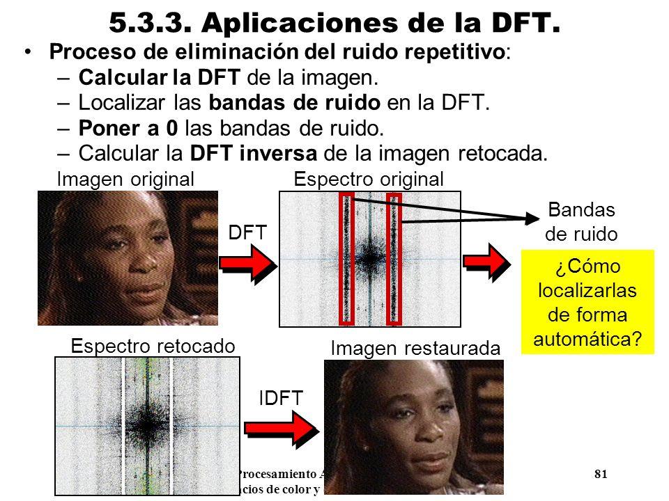 Procesamiento Audiovisual 81 Tema 5. Espacios de color y el dominio frecuencial. 5.3.3. Aplicaciones de la DFT. Proceso de eliminación del ruido repet