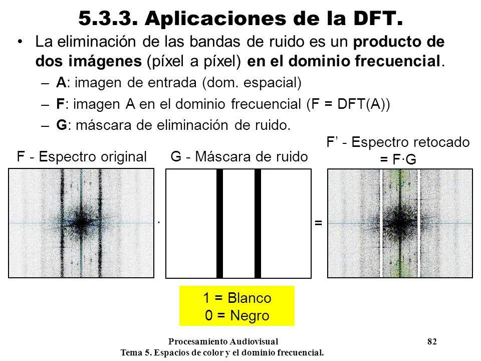Procesamiento Audiovisual 82 Tema 5. Espacios de color y el dominio frecuencial. 5.3.3. Aplicaciones de la DFT. La eliminación de las bandas de ruido