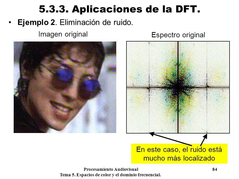 Procesamiento Audiovisual 84 Tema 5. Espacios de color y el dominio frecuencial. 5.3.3. Aplicaciones de la DFT. Ejemplo 2. Eliminación de ruido. Image