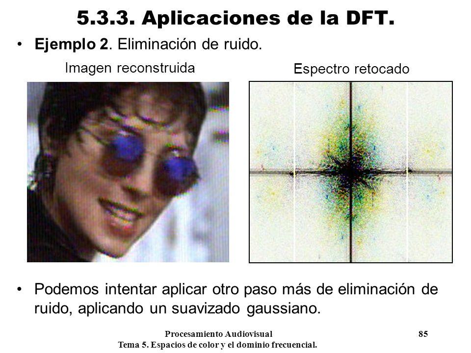 Procesamiento Audiovisual 85 Tema 5. Espacios de color y el dominio frecuencial. 5.3.3. Aplicaciones de la DFT. Ejemplo 2. Eliminación de ruido. Image