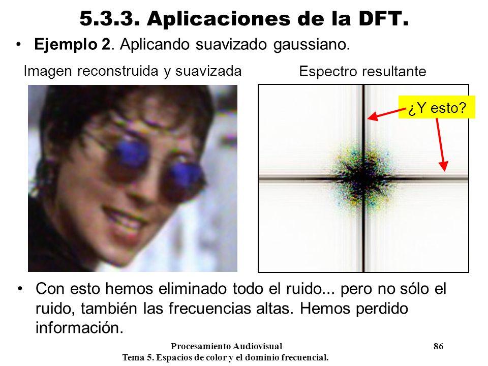 Procesamiento Audiovisual 86 Tema 5. Espacios de color y el dominio frecuencial. 5.3.3. Aplicaciones de la DFT. Ejemplo 2. Aplicando suavizado gaussia