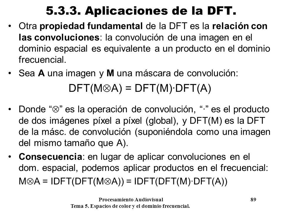 Procesamiento Audiovisual 89 Tema 5. Espacios de color y el dominio frecuencial. 5.3.3. Aplicaciones de la DFT. Otra propiedad fundamental de la DFT e