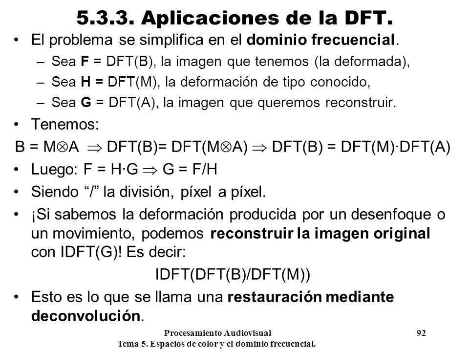 Procesamiento Audiovisual 92 Tema 5. Espacios de color y el dominio frecuencial. 5.3.3. Aplicaciones de la DFT. El problema se simplifica en el domini