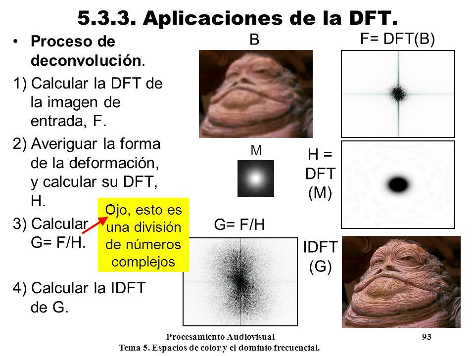 Procesamiento Audiovisual 93 Tema 5. Espacios de color y el dominio frecuencial. 5.3.3. Aplicaciones de la DFT. Proceso de deconvolución. 1) Calcular