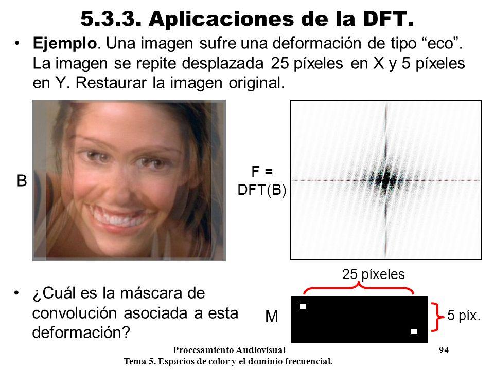 Procesamiento Audiovisual 94 Tema 5. Espacios de color y el dominio frecuencial. 5.3.3. Aplicaciones de la DFT. Ejemplo. Una imagen sufre una deformac
