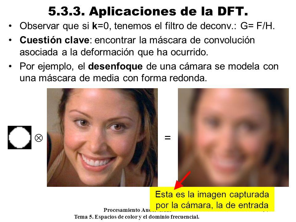 Procesamiento Audiovisual 97 Tema 5. Espacios de color y el dominio frecuencial. 5.3.3. Aplicaciones de la DFT. Observar que si k=0, tenemos el filtro