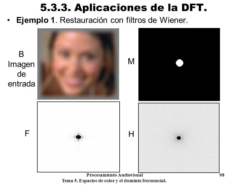 Procesamiento Audiovisual 98 Tema 5. Espacios de color y el dominio frecuencial. 5.3.3. Aplicaciones de la DFT. Ejemplo 1. Restauración con filtros de