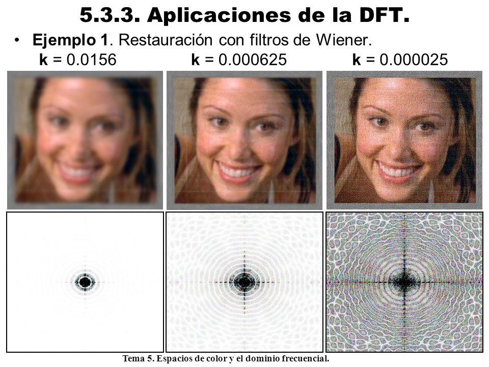 Procesamiento Audiovisual 99 Tema 5. Espacios de color y el dominio frecuencial. 5.3.3. Aplicaciones de la DFT. Ejemplo 1. Restauración con filtros de