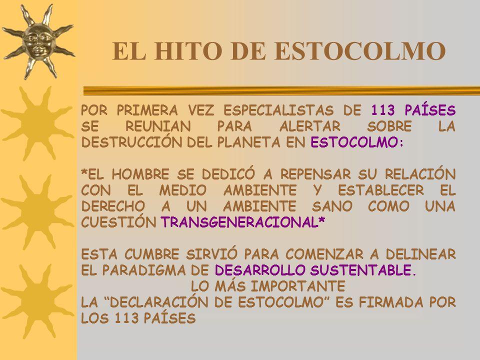 EL HITO DE ESTOCOLMO POR PRIMERA VEZ ESPECIALISTAS DE 113 PAÍSES SE REUNIAN PARA ALERTAR SOBRE LA DESTRUCCIÓN DEL PLANETA EN ESTOCOLMO: *EL HOMBRE SE