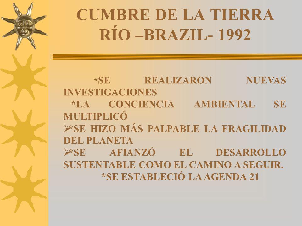 CUMBRE DE LA TIERRA RÍO –BRAZIL- 1992 * SE REALIZARON NUEVAS INVESTIGACIONES *LA CONCIENCIA AMBIENTAL SE MULTIPLICÓ *SE HIZO MÁS PALPABLE LA FRAGILIDA