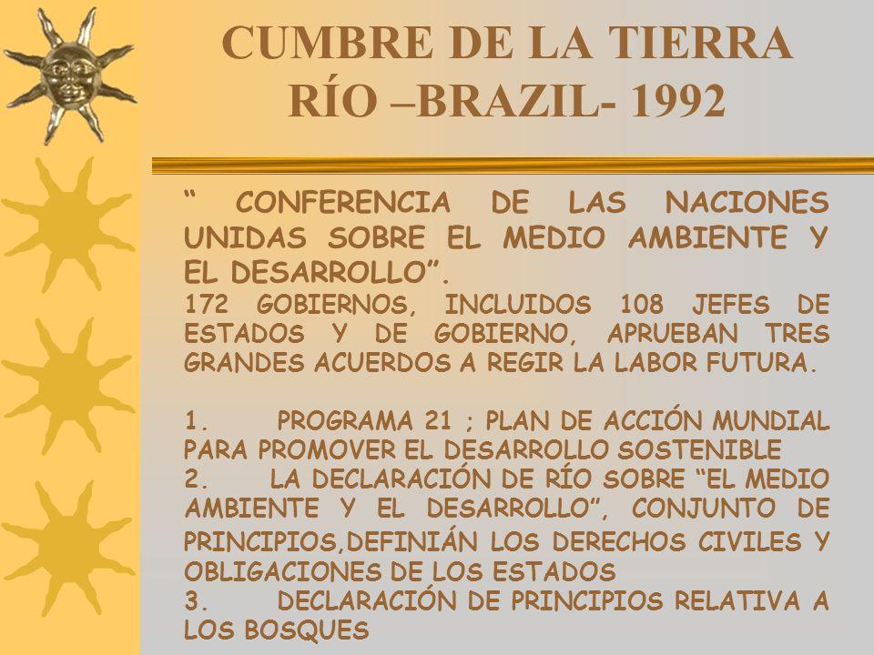 CUMBRE DE LA TIERRA RÍO –BRAZIL- 1992 CONFERENCIA DE LAS NACIONES UNIDAS SOBRE EL MEDIO AMBIENTE Y EL DESARROLLO. 172 GOBIERNOS, INCLUIDOS 108 JEFES D