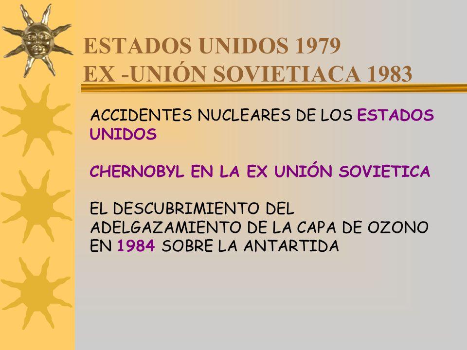 ESTADOS UNIDOS 1979 EX -UNIÓN SOVIETIACA 1983 ACCIDENTES NUCLEARES DE LOS ESTADOS UNIDOS CHERNOBYL EN LA EX UNIÓN SOVIETICA EL DESCUBRIMIENTO DEL ADEL