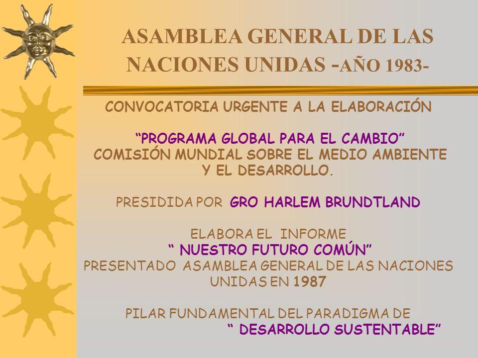 ASAMBLEA GENERAL DE LAS NACIONES UNIDAS - AÑO 1983- CONVOCATORIA URGENTE A LA ELABORACIÓN PROGRAMA GLOBAL PARA EL CAMBIO COMISIÓN MUNDIAL SOBRE EL MED