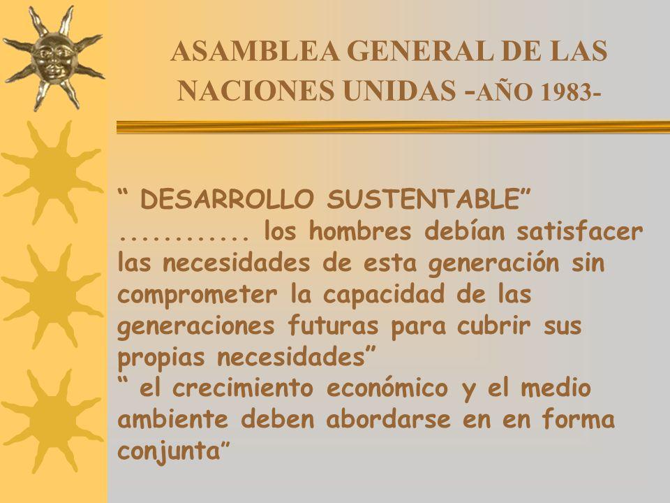 ASAMBLEA GENERAL DE LAS NACIONES UNIDAS - AÑO 1983- DESARROLLO SUSTENTABLE............ los hombres debían satisfacer las necesidades de esta generació
