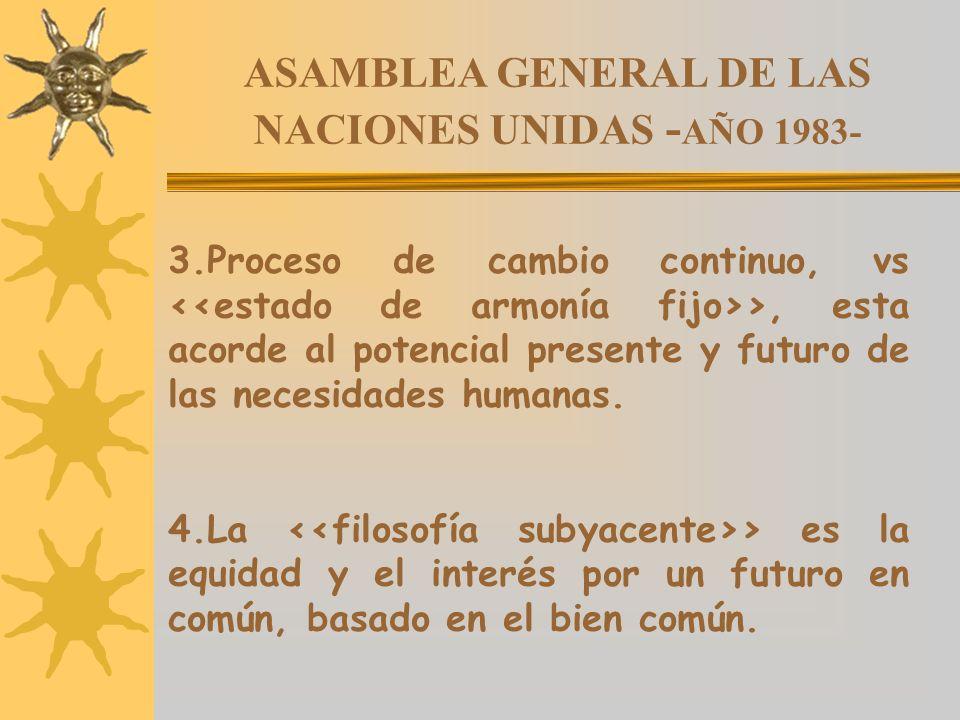ASAMBLEA GENERAL DE LAS NACIONES UNIDAS - AÑO 1983- 3.Proceso de cambio continuo, vs >, esta acorde al potencial presente y futuro de las necesidades