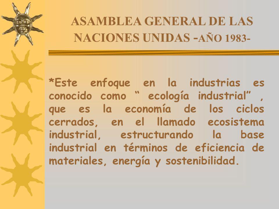 ASAMBLEA GENERAL DE LAS NACIONES UNIDAS - AÑO 1983- *Este enfoque en la industrias es conocido como ecología industrial, que es la economía de los cic