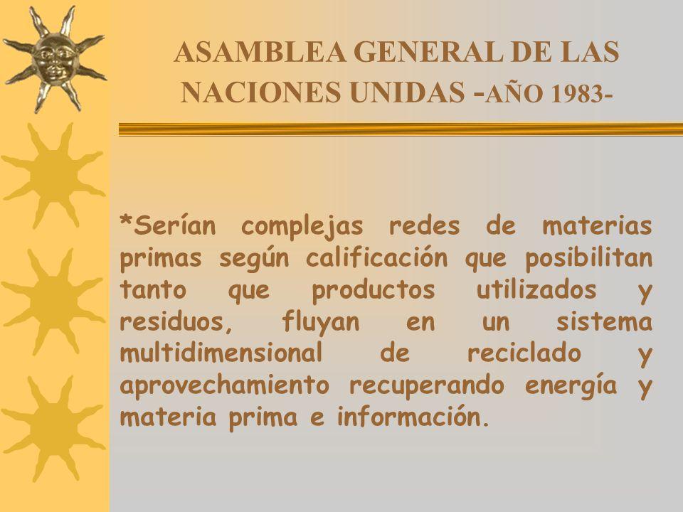 ASAMBLEA GENERAL DE LAS NACIONES UNIDAS - AÑO 1983- *Serían complejas redes de materias primas según calificación que posibilitan tanto que productos