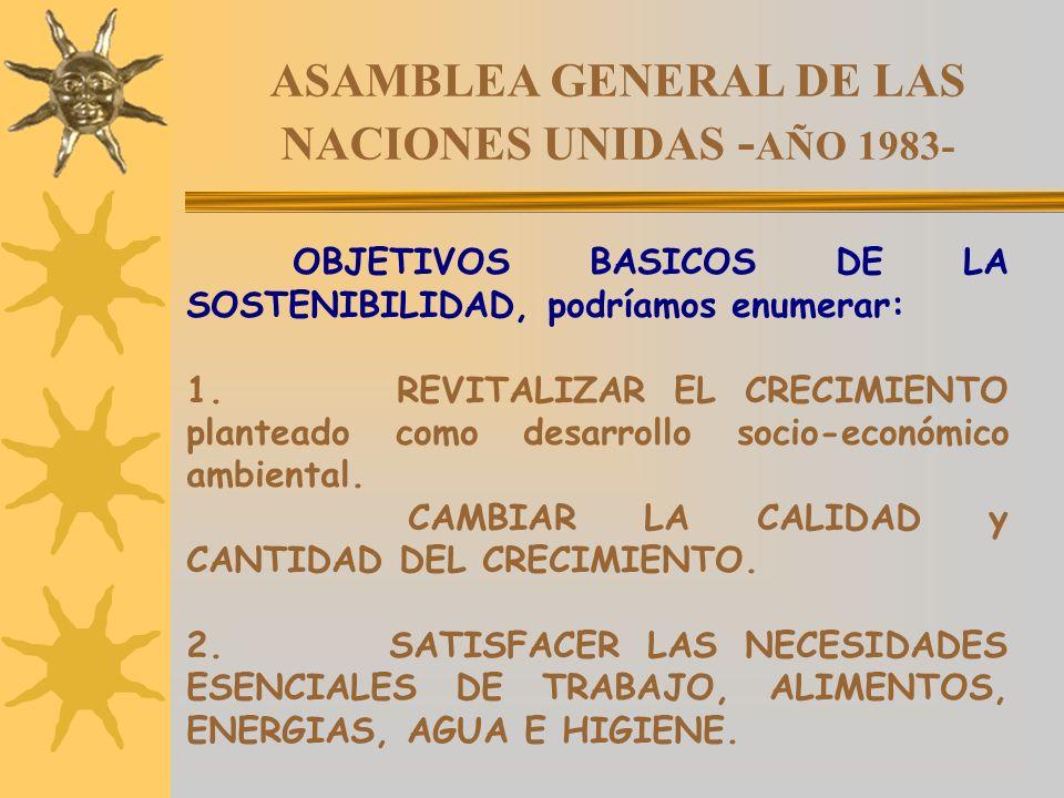 ASAMBLEA GENERAL DE LAS NACIONES UNIDAS - AÑO 1983- OBJETIVOS BASICOS DE LA SOSTENIBILIDAD, podríamos enumerar: 1. REVITALIZAR EL CRECIMIENTO plantead