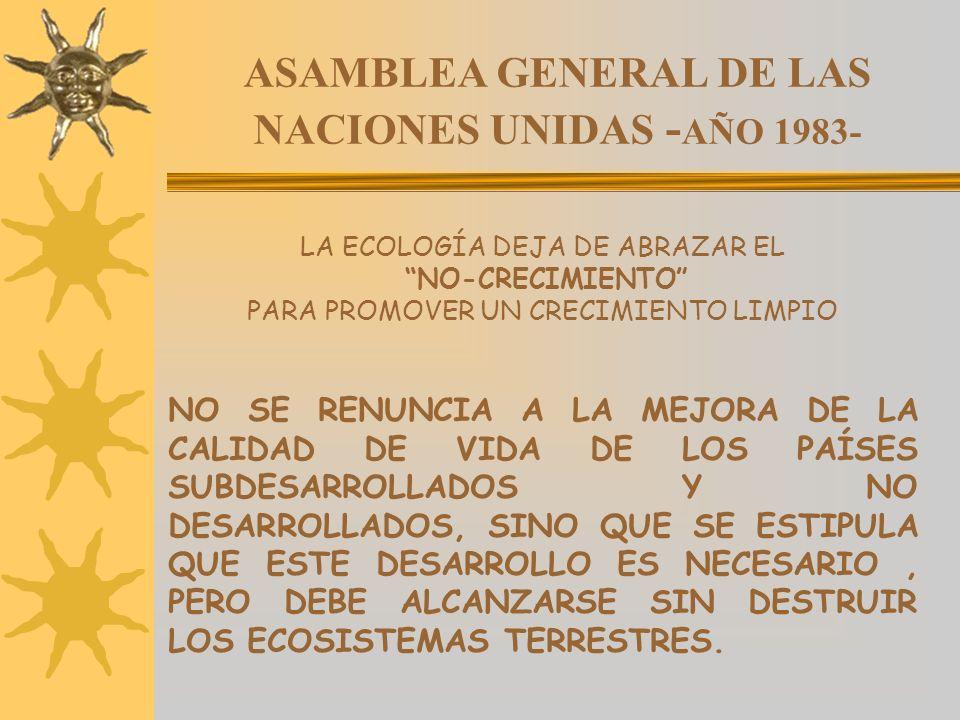 ASAMBLEA GENERAL DE LAS NACIONES UNIDAS - AÑO 1983- LA ECOLOGÍA DEJA DE ABRAZAR EL NO-CRECIMIENTO PARA PROMOVER UN CRECIMIENTO LIMPIO NO SE RENUNCIA A