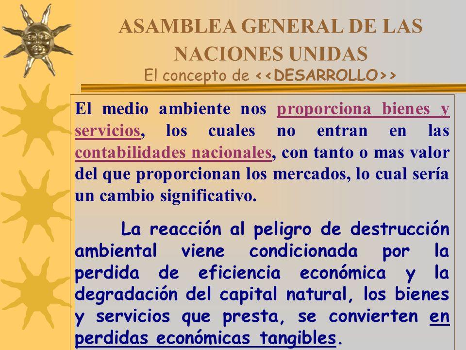 ASAMBLEA GENERAL DE LAS NACIONES UNIDAS El concepto de > El medio ambiente nos proporciona bienes y servicios, los cuales no entran en las contabilida