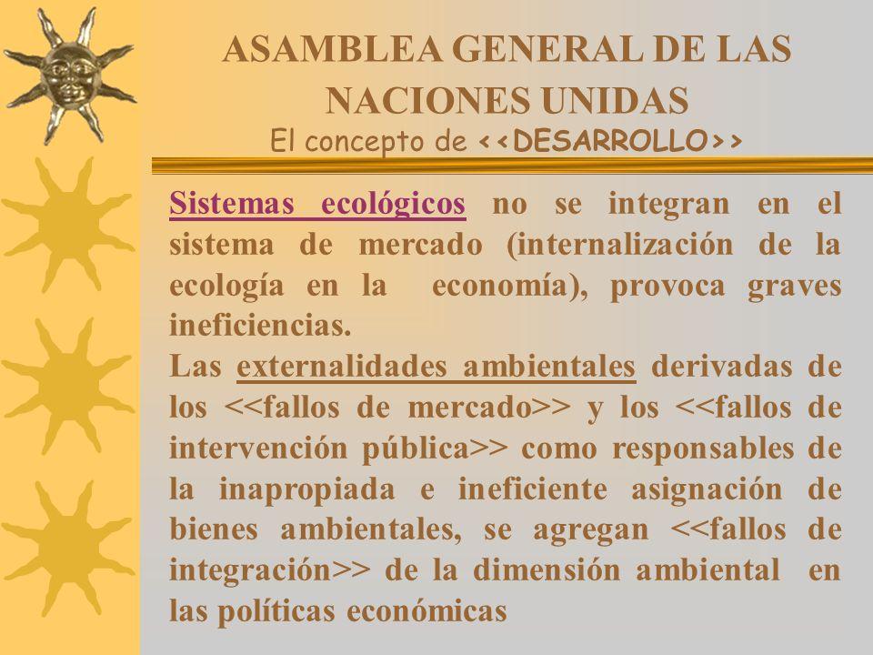 ASAMBLEA GENERAL DE LAS NACIONES UNIDAS El concepto de > Sistemas ecológicos no se integran en el sistema de mercado (internalización de la ecología e