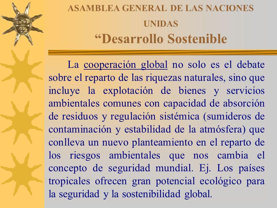 ASAMBLEA GENERAL DE LAS NACIONES UNIDAS Desarrollo Sostenible La cooperación global no solo es el debate sobre el reparto de las riquezas naturales, s