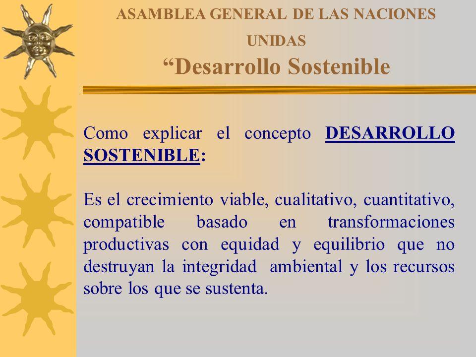 ASAMBLEA GENERAL DE LAS NACIONES UNIDAS Desarrollo Sostenible Como explicar el concepto DESARROLLO SOSTENIBLE: Es el crecimiento viable, cualitativo,