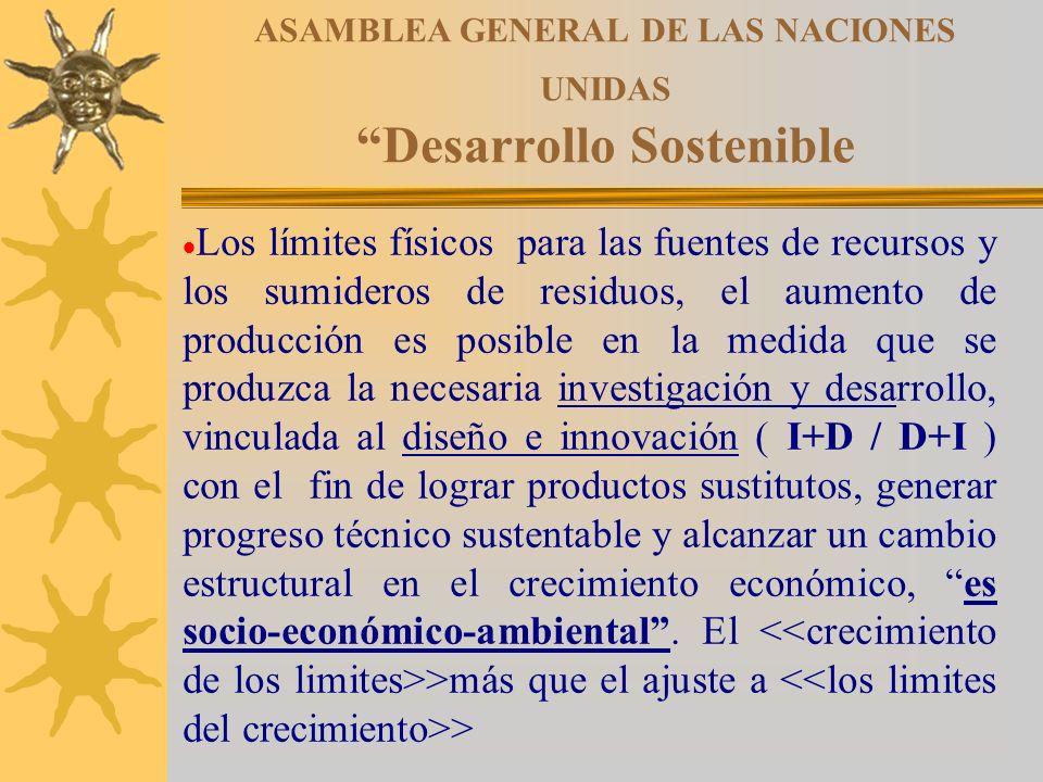 ASAMBLEA GENERAL DE LAS NACIONES UNIDAS Desarrollo Sostenible Los límites físicos para las fuentes de recursos y los sumideros de residuos, el aumento