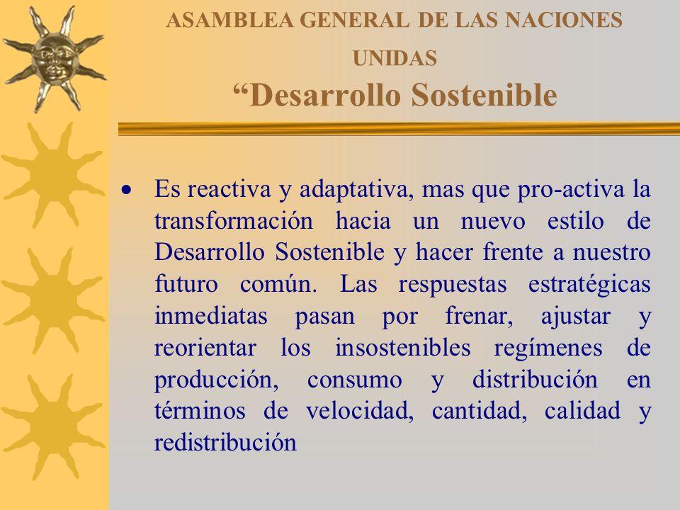 ASAMBLEA GENERAL DE LAS NACIONES UNIDAS Desarrollo Sostenible Es reactiva y adaptativa, mas que pro-activa la transformación hacia un nuevo estilo de