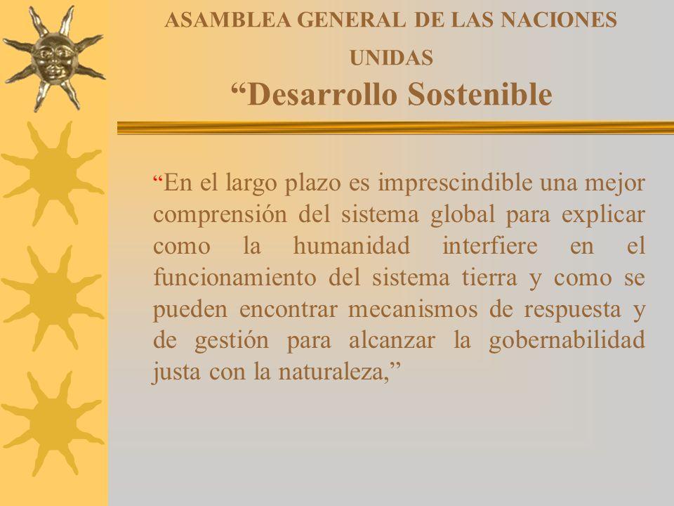 ASAMBLEA GENERAL DE LAS NACIONES UNIDAS Desarrollo Sostenible En el largo plazo es imprescindible una mejor comprensión del sistema global para explic