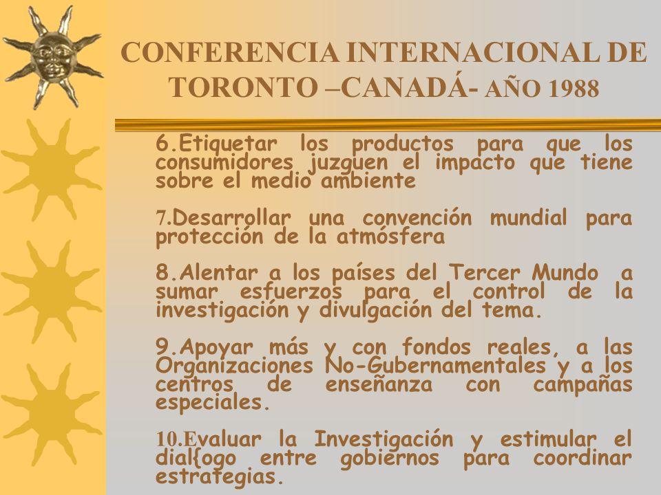 CONFERENCIA INTERNACIONAL DE TORONTO –CANADÁ- AÑO 1988 6.Etiquetar los productos para que los consumidores juzguen el impacto que tiene sobre el medio