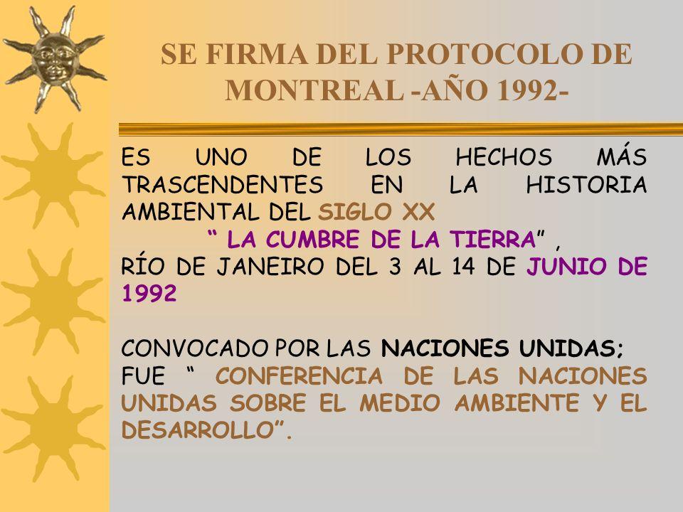 SE FIRMA DEL PROTOCOLO DE MONTREAL -AÑO 1992- ES UNO DE LOS HECHOS MÁS TRASCENDENTES EN LA HISTORIA AMBIENTAL DEL SIGLO XX LA CUMBRE DE LA TIERRA, RÍO