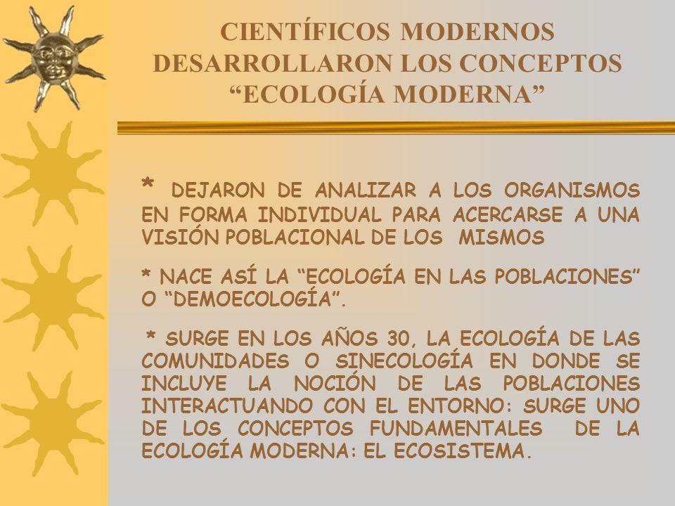 CIENTÍFICOS MODERNOS DESARROLLARON LOS CONCEPTOSECOLOGÍA MODERNA * DEJARON DE ANALIZAR A LOS ORGANISMOS EN FORMA INDIVIDUAL PARA ACERCARSE A UNA VISIÓ