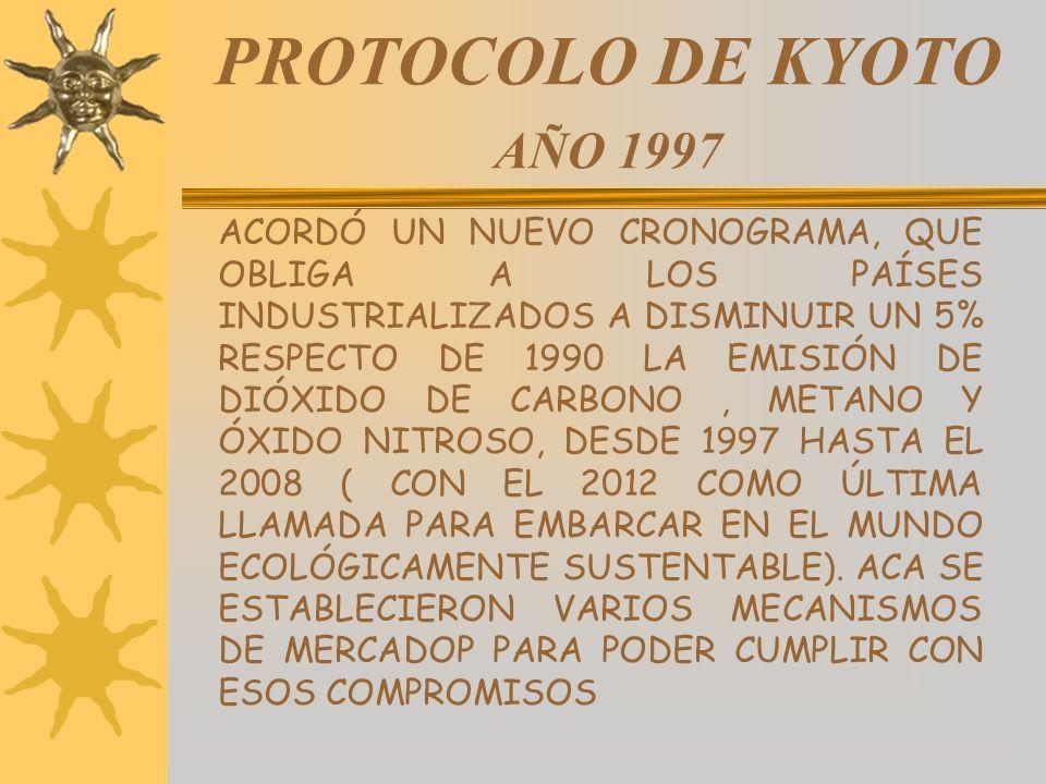 PROTOCOLO DE KYOTO AÑO 1997 ACORDÓ UN NUEVO CRONOGRAMA, QUE OBLIGA A LOS PAÍSES INDUSTRIALIZADOS A DISMINUIR UN 5% RESPECTO DE 1990 LA EMISIÓN DE DIÓX