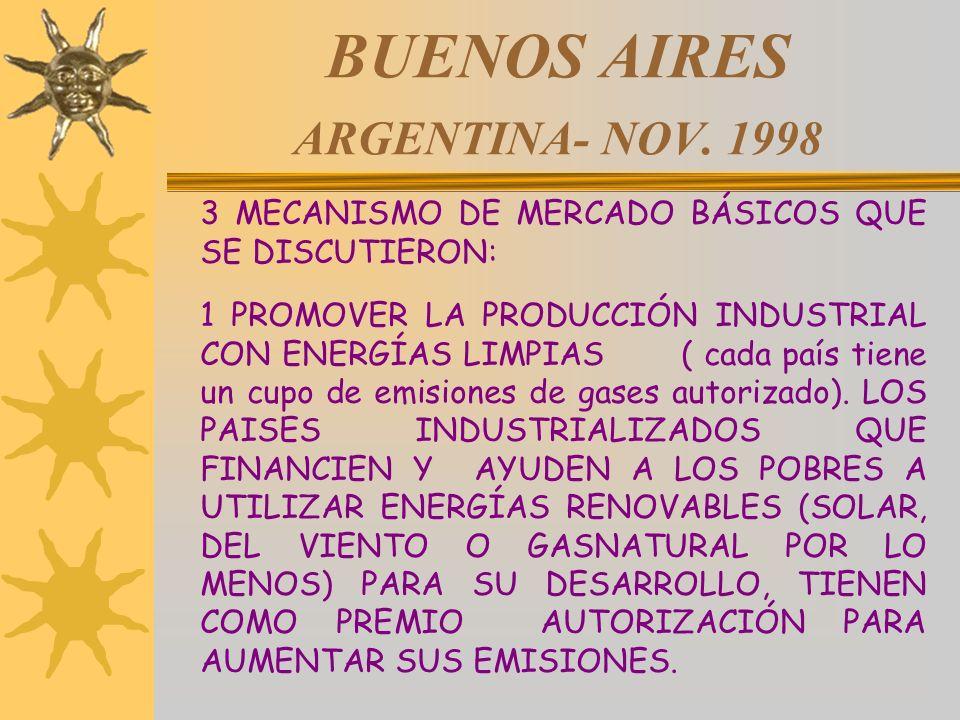 BUENOS AIRES ARGENTINA- NOV. 1998 3 MECANISMO DE MERCADO BÁSICOS QUE SE DISCUTIERON: 1 PROMOVER LA PRODUCCIÓN INDUSTRIAL CON ENERGÍAS LIMPIAS ( cada p