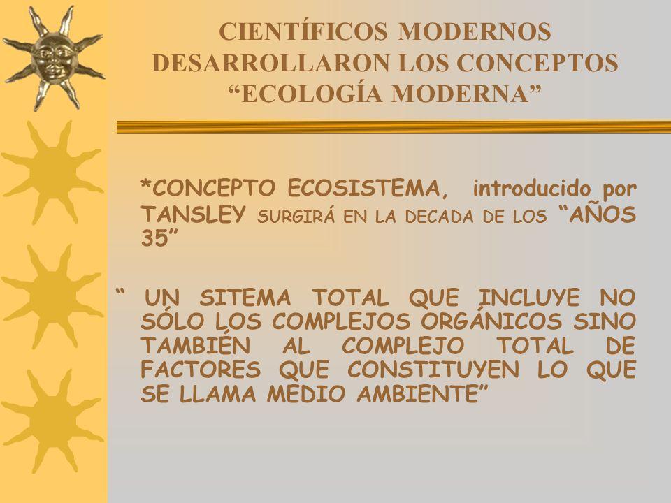 CIENTÍFICOS MODERNOS DESARROLLARON LOS CONCEPTOSECOLOGÍA MODERNA *CONCEPTO ECOSISTEMA, introducido por TANSLEY SURGIRÁ EN LA DECADA DE LOS AÑOS 35 UN